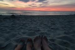 Füße im Sonnenuntergang